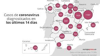 Mapa con datos de coronavirus en España a 6 de agosto.