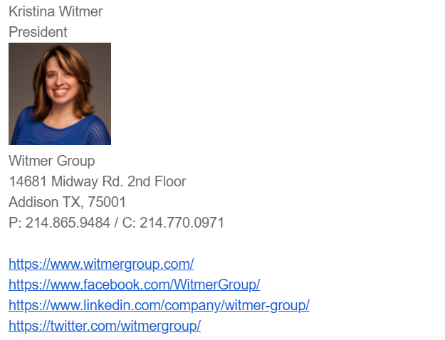 witmer email signature example