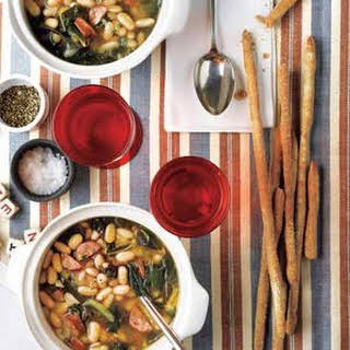 Slow-Cooker White Bean Soup With Andouille and Collards.