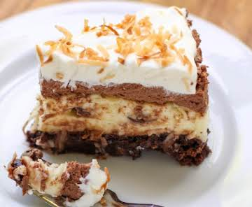 Brownie Bottom Coconut Chocolate Cream Cake
