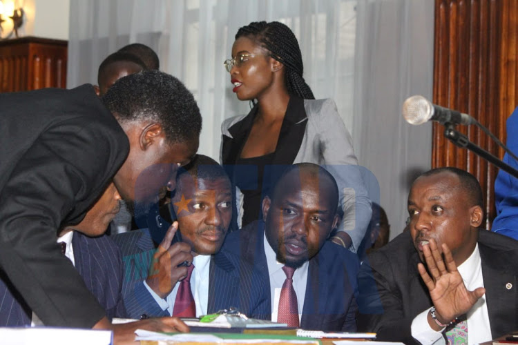 Some of the lawyers representing Nairobi Governor Mike Sonko at the Milimani Law Court on Monday, December 9, 2019.