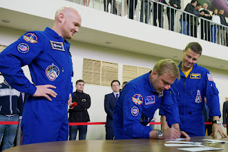 Photo: Astronaut Exams: ESA, NASA & Roscosmos | ISS ESA astronaut Alexander Gerst (left) and NASA astronaut Reid Wiseman look on as their Expedition 40 commander Maxim Suarev signs exam forms. Today, the crew had their first day of tests on the Russian segment of the Space Station. If all goes well, they will be launched to the International Space Station (ISS) May 28, 2014.  Also passing their exams was the backup crew of ESA astronaut Samantha Cristoforetti, NASA astronaut Terry Virts and cosmonaut commander Anton Shkaplerov. They performed their first day of exams on the Soyuz spacecraft they will fly to the outpost. The backup crew will be launched in November as Expedition 42, once Expedition 40/41 are back on Earth.  Both exams last all day and see the astronauts dealing with a range of demanding scenarios, with the examiners surprising them with emergency situations.  Image Credit: Federal Russian Space Agency Roscosmos Caption Credit: European Space Agency (ESA) Release Date: 06/05/2014  +European Space Agency, ESA +DLR, German Aerospace Center +Johnson Space Center +Roscosmos (Unofficial) +Alexander Gerst +Samantha Cristoforetti  #NASA #Astronaut #Space #Cosmonaut #Exams #Emergencies #Training #ISS #International #ESA #AlexanderGerst #MaximSuarev #SamanthaCristoforetti #TerryVirts  #AntonShkaplerov #Roscosmos #Russia  #Germany #Italy  #USA #Expedition40
