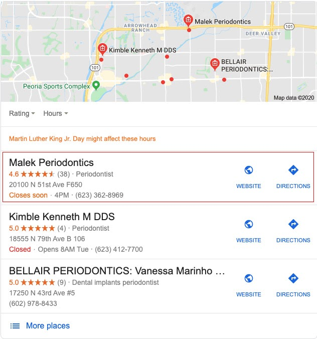 Local SEO, SEO, Dental SEO, Search results