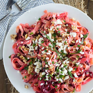 Fettuccine with Roasted Spiralized Beets, Walnuts, and Feta.