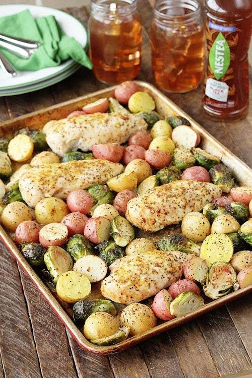 """Sheet Pan Lemon Chicken""""It's filled with great tangy, tart flavor and everything..."""