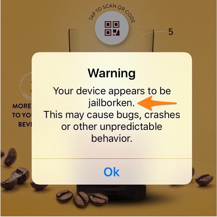 The McCafe app thinks my phone is