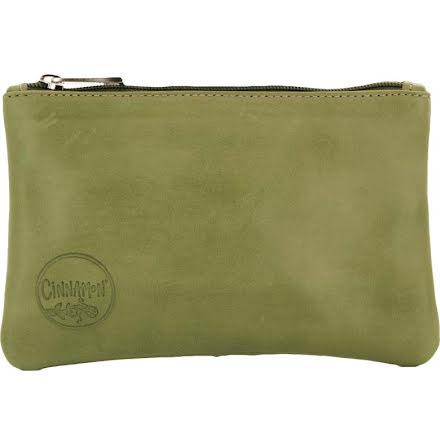 Mini väska äpplegrön i skinn med kreditkortsficka