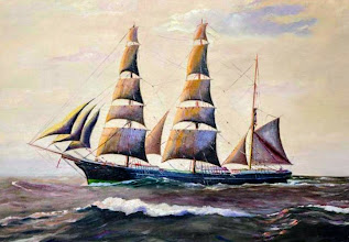 """Photo: One of John Stenersen's ships. The painting was given by a relative of the Ship owner. Three Masted Barque, """"Svea"""". Captain Jonas Q. Halvorsen, B.T. Marcussen, K. Taraldsen"""