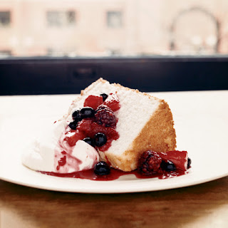 Angel Food Cake with Three-Berry Compote Recipe
