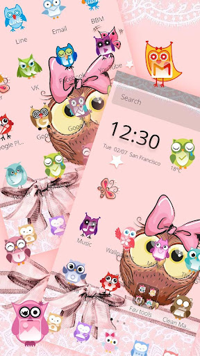 Cute Cartoon Owl Bowknot Theme for PC