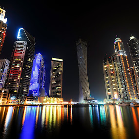 Marina Towers by Jbern Eugenio - Buildings & Architecture Office Buildings & Hotels ( building, night, places, architecture, nikon, landscape, light, city )