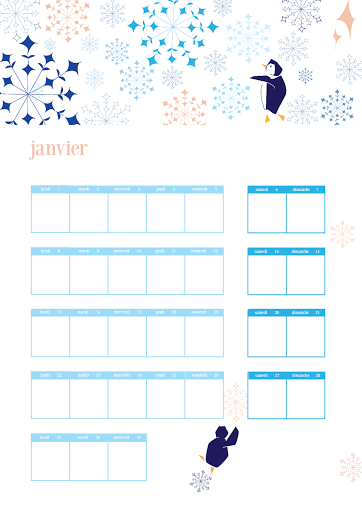 Calendrier 2018 - Janvier