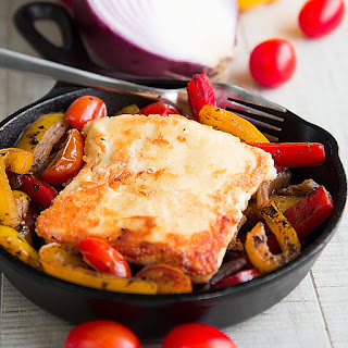 SAGANAKI CHEESE RECIPE with Feta and seared bell peppers.