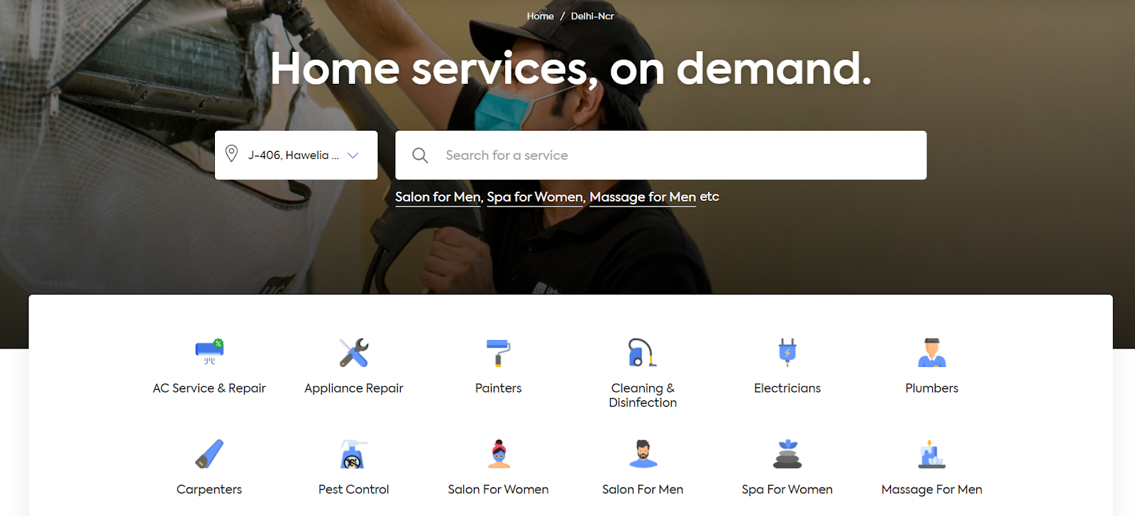 The image shows the homepage of Urban Company and all the services they offer