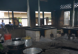 Photo: The school kitchen.  Cooking for 700 students and staff.