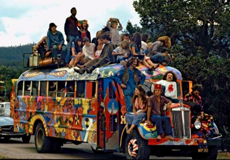 Ken Kesey's acid-filled school bus, accompanied by a flock of Merry Pranksters.