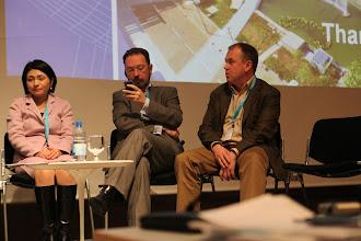 "Photo: Hiromi Yokoyama, Evgeny Kuznetsov, Stanislav Naumov - final panel discussion - ""Communicating Science & Innovations""- 2012"