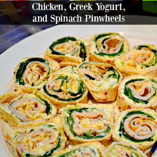 Chicken, Greek Yogurt & Spinach Roll ups.