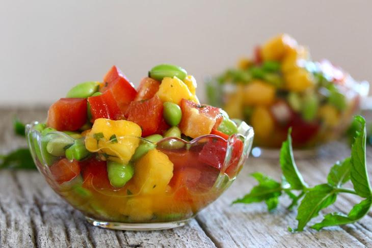 Mango Edamame Salad with Maple Lime Vinaigrette Recipe