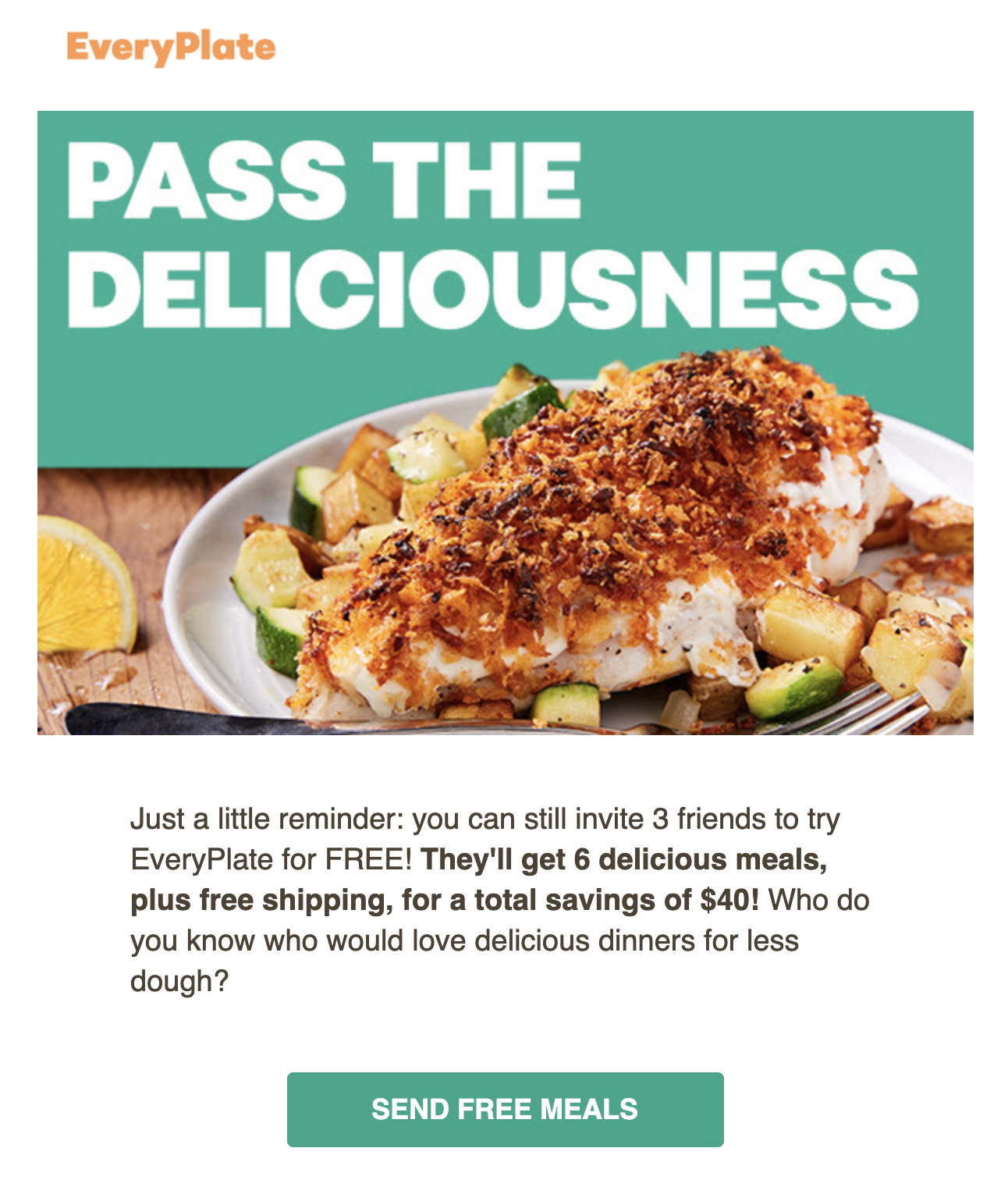 Example of a referral email from EveryPlate