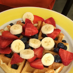 Belgian gluten-free waffle with berries no whip cream