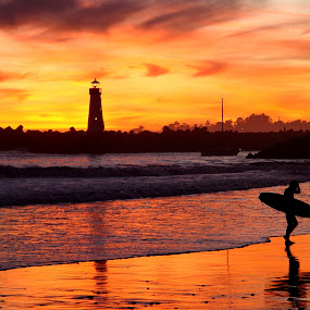 Surfer Sunset by Richard Beckmann - Landscapes Waterscapes