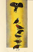 """Photo: """"I'll Fly Away"""" block print, hand colored, 24""""x36"""""""