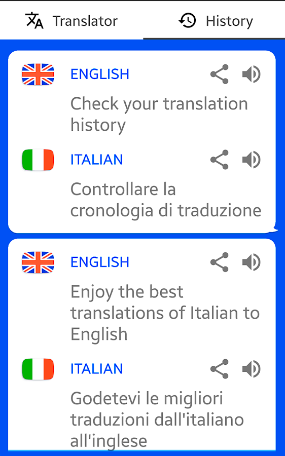 Translator Italian: English Translator ( Text To Speech )