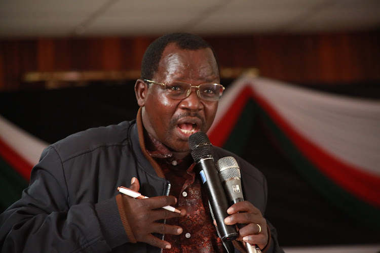 West Pokot Governor John Lonyangap'uo at a peace meeting at the Kenya School of Government in Kabarnet town, Baringo on Friday, November 6.