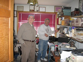 Photo: W7EKG and KØIP in the real shack, Station #2. used on 15 & 75 meters. AN ICOM 7600 - Amp Supply LK500ZA (2x3-500z) - HyGain TH7DXX on 15 or Dipole for 75M