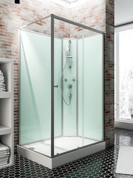 Cabine de douche intégrale Ibiza, 90 x 120 x 204 cm, colonne à droite