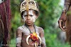 Papua. New Guinea East Sepik River Clans Crocodile Traditions. Little boy during the Crocodile dance