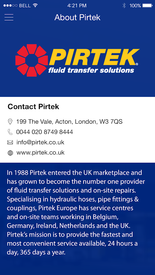 PIRTEK Application- screenshot