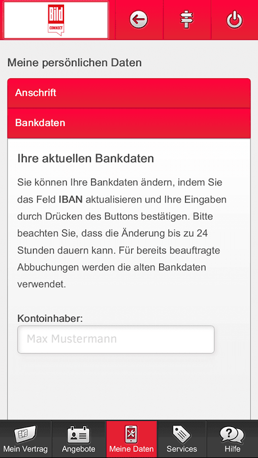 BILDconnect Servicewelt – Screenshot