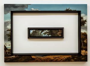 Photo: Invasiones mutuas III. 2014 Óleo sobre tela y molduras 90 x 130 cm