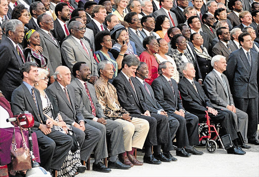 UNITED STATE: Members of the Constitutional Assembly who drafted the constitution in 1996 included Cyril Ramaphosa, Nelson Mandela, Thabo Mbeki and Tony Leon (standing, far right).