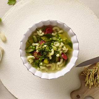 Spring Vegetable Soup with Pesto.