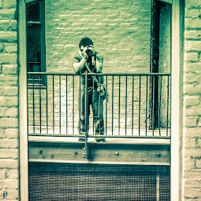 Selfie Down Warehouse Row by Nathaniel Jorge - People Portraits of Men ( portait, selfie, hdr, reflections, self portrait, virginia, roanoke, gary fong )