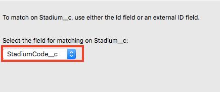 キーとなる項目(ここでは球場コード)を選択