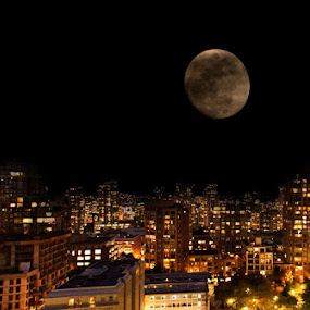 by April Brown - City,  Street & Park  Street Scenes ( lights, moon )