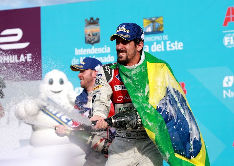 Lucas di Grassi celebrating another Formula E victory
