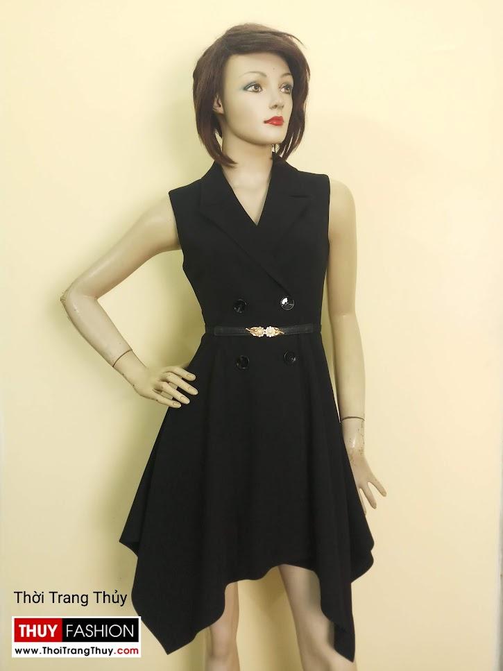 Váy xòe vạt lệch cổ vest nữ mặc dự tiệc V670 tại Hà Nội