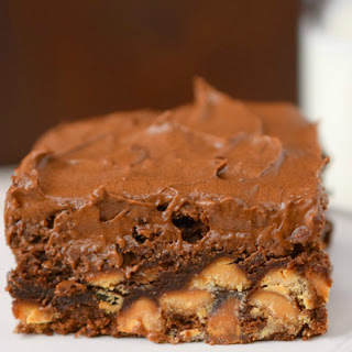 Frosted Peanut Butter Chip Brownies.