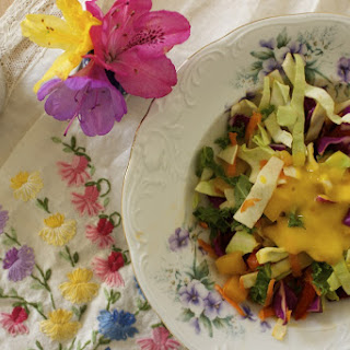 Raw Rainbow Kale Slaw with Mango Citrus Dressing
