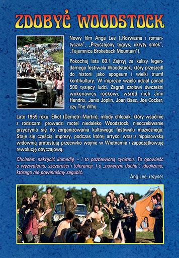 Tył ulotki filmu 'Zdobyć Woodstock'