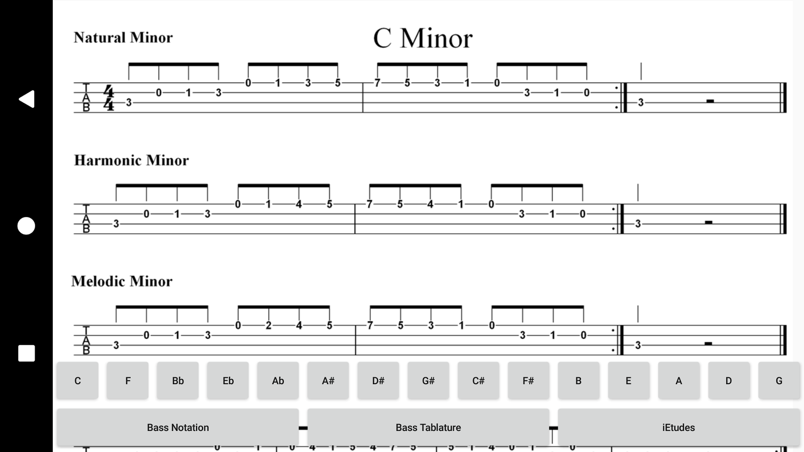 Bass Guitar Minor Scales- screenshot