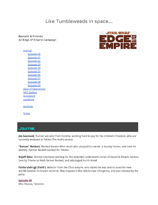 Edge of the Empire Journal