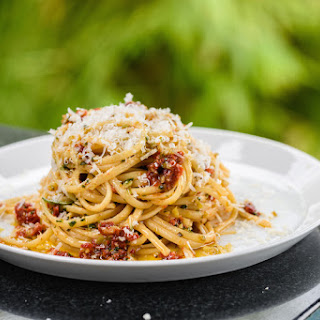 Linguine with Sun-Dried Tomatoes, Olives and Lemon.