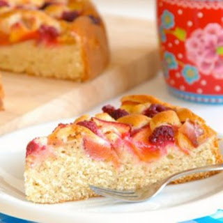Simple Brown Butter Cake with Nectarines and Raspberries.