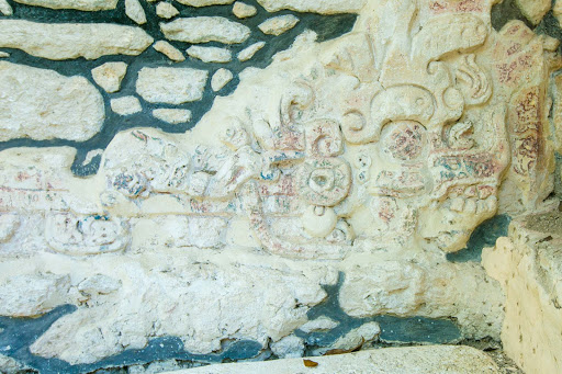 A carving representing a heavenly monster (says our guide) found at Dzibanche in the Yucatan.